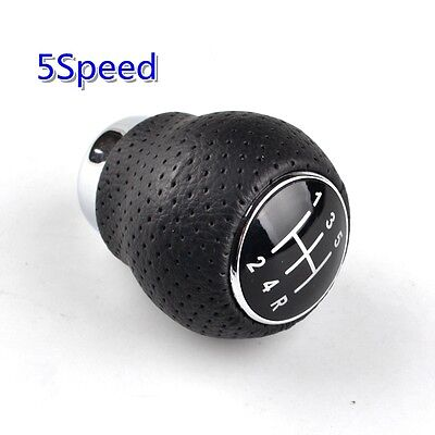 Universal 5-Speed Shift Knob Aluminum Manual Black Leather Gear Shifter Lever