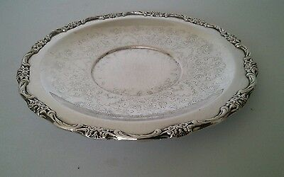 Antique silver on copper ornate chased tray/salver