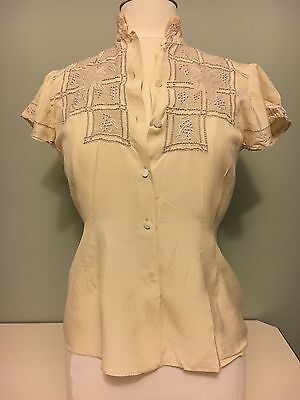 Vintage Women's 1940's Blouse Ecru/Ivory Embroidered Lace Fitted Size Small