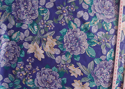 "Laura Ashley blue floral satin cotton dressweight fabric 58"" wide. Vintage '80s"