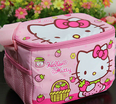 Hello Kitty Bag School Picnic Insulated Cooler Lunch Bag Pink Strawberry QK06