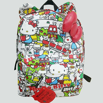 Hello Kitty Bag Loungefly Garffiti Backpack Rucksack Big 3D Bow Schoolbag QK24