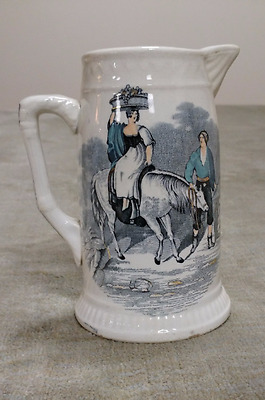 Milk Pitcher ZEPHYR Campbellfield Pottery Hand Colored with Gold Gilt Lining