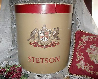 Antique STETSON HAT BOX Large Round W/ Cardboard Hat Mold Included - 1950's