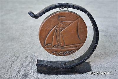 ANTIQUE vtg WROUGHT IRON hammered COPPER mini DINNER bell GONG sailboat NAUTICAL