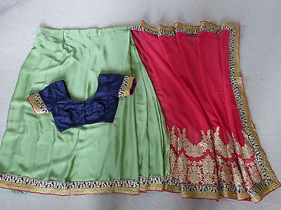 Stitched, Fully Lined Indian Saree and Blouse – Size Small – Pink, Green & Gold