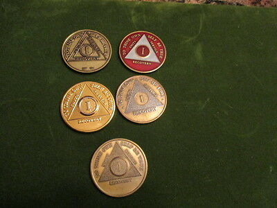 AA Alcoholics Anonymous Vintage 1 Year Chip Lot Of 5  Brass Chips Lot Of Five