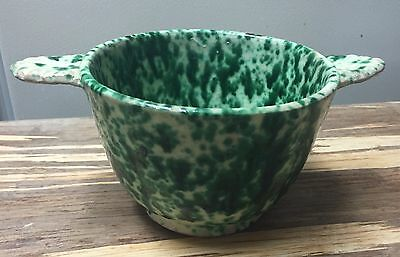 VERY OLD EARLY REDWARE SPATTER WARE BOWL 19th CENTURY IRIDESCENT NR