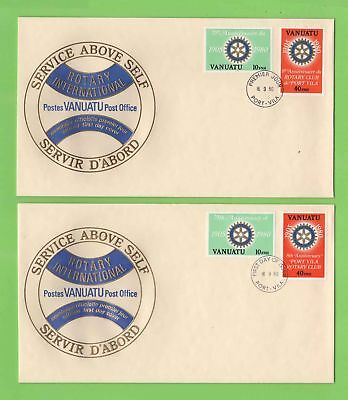 Vanuatu 1980 Rotary Club sets (English & French) First Day Covers