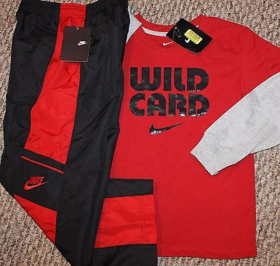 New! Boys Nike Outfit (Long Sleeve Shirt, Pants; Wild Card;Red/Black) - Size 5-6