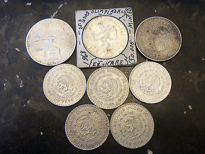Lot Of Eight (8) Mexican Silver Coins