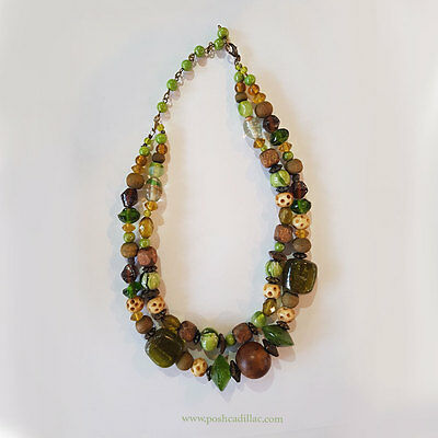 Unique Vintage Mediterranean Earth Nature Boho Green Glass Crystal Necklace