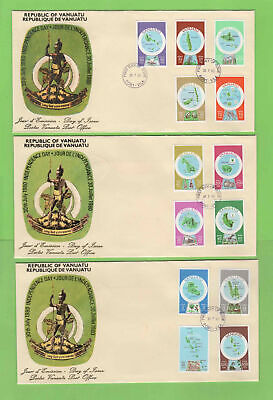 Vanuatu 1980 English Currency definitive set on three First Day Covers