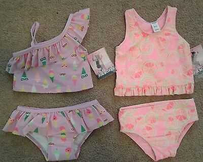 1 infant toddler girls 2pc UPF 50 Tankini Swim Suit Joe Boxer Bathing Suit NEW