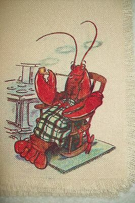 Vintage SET of 4 LOBSTER Smoking a Pipe In Chair Placemats Beach House Kitchy