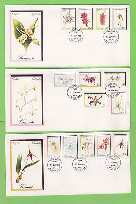 Vanuatu 1982 Orchids definitive set on three First Day Covers