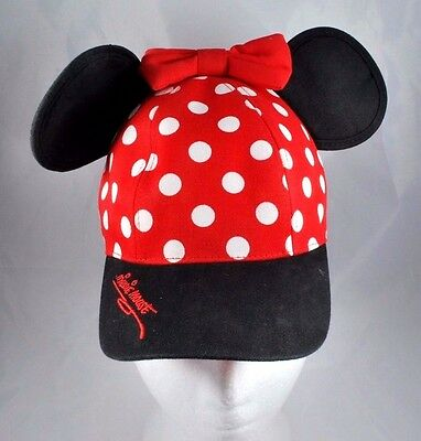 Walt Disney World Minnie Mouse Polka Dot Baseball Cap Hat Ears Youth