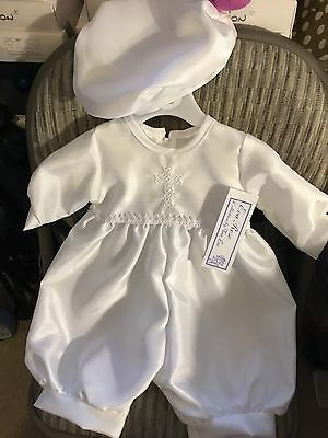 Baby Boys Satin Christening Suit Spanish Style Romany 3-6 6-12 White With Cross