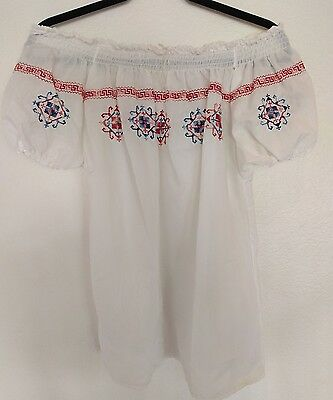 VTG Romanian Embroidered Off Shoulder Folk Peasant Blouse Festival Ukraine S/M