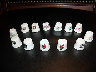 Vintage Lot of 13 Collectible Thimbles Flowers Floral