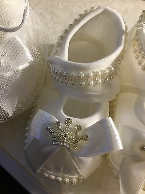 Baby Girls Christening Booties Party Shoes Ivory Satin Flowers Diamonds Pearls
