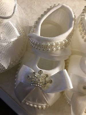 Baby Girls Christening Shoes Booties Party Ivory Satin Flowers Diamonds Pearls