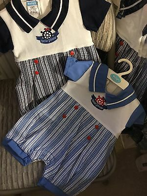 Baby Boys Traditional Spanish Style Romany Sailor All in One Romper Suit