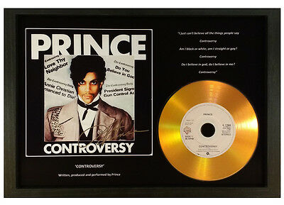 Prince 'controversy' Signed Gold Disc Record Display