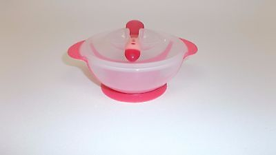 Iwotou Baby Suction Bowl Feeding Set Perfect For Your Baby (Bowl & Spoon, Red)