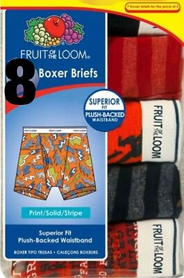 8 PACK ~ Fruit of the Loom Boys Assorted Prints & Solids Cotton Boxer Briefs
