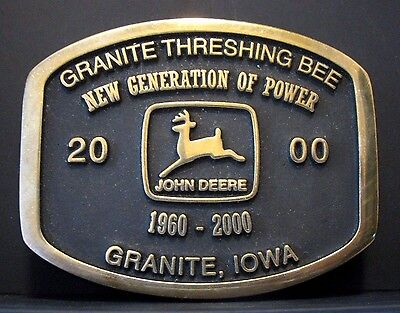 John Deere 1968 Logo 2000 Granite Iowa Threshing Bee Brass Belt Buckle Anacortes