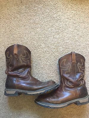 GUC Men's Brown Leather ROCKY Work Boots Size 10.5 W ROPER AZTEC