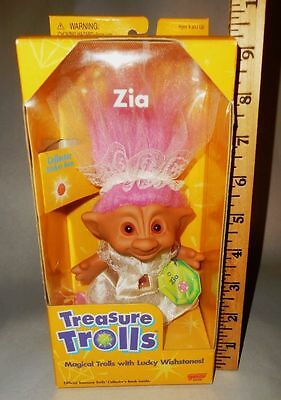"Treasure Troll 5"" Zia Bride Doll pink hair Lucky Wishstone Eyes NIB NOS Vtg 90s"