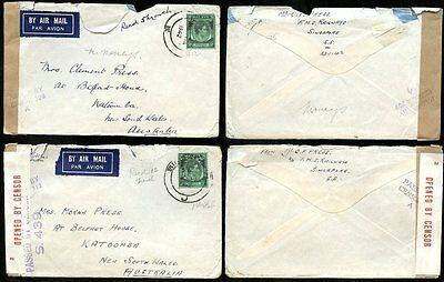 MALAYA CENSORED AIRMAIL to AUSTRALIA 1942 KATOOMBA FMS RAILWAYS..2 DIFF.TAPES L3