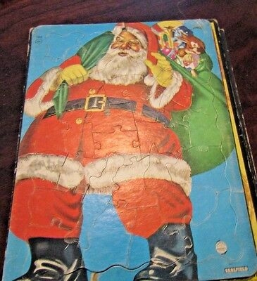 VINTAGE 1950s  Saalfield Frame puzzle Santa Claus with toy bag