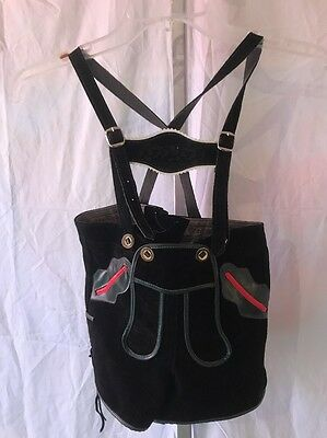 St. Peter Trachten Kids Lederhosen German Black Leather Suspender Pants Size 110