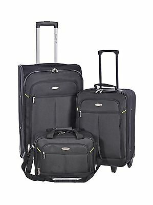 Millenium Black 3 Piece Luggage Set - Checked & Carry On Suitcases with T... New