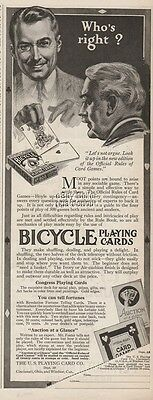 1920 Bicycle US Playing Cards Co Cincinnati OH Official Rules Congress Art Ad