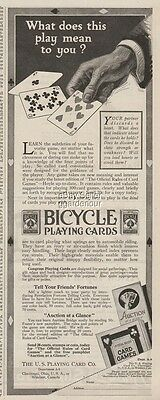 1920 Bicycle US Playing Cards Co Cincinnati OH Hoyle Auction Hearts Art Ad