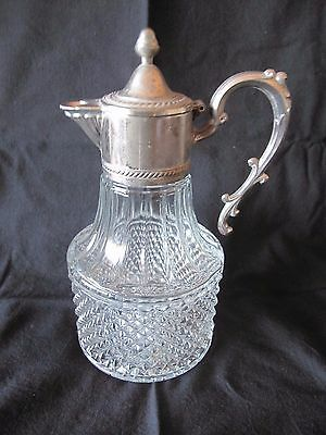 Beautiful Italian Cut Glass And Silver Plate Claret Jug