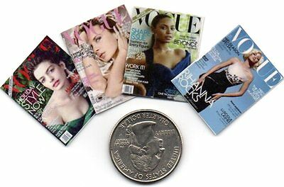 4 Miniature   'Vogue'   Magazines      - Dollshouse 1:12 scale
