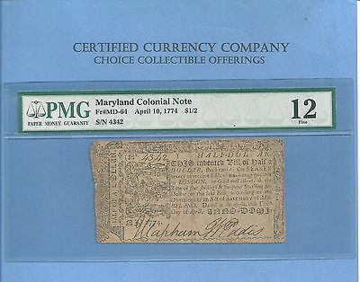 1774 $ 1/2 Dollar Maryland Early Colonial Note History MD-64 PMG Fine 12