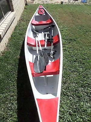 Natureline  Canoe Fiber glass 4.7m 3 Seater , paddles  Mercury electric outboard