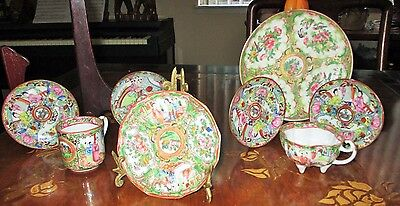 Antique 8 pc Chinese Famille Rose Medallion Figures Plate Cup Saucer Lot set HTF