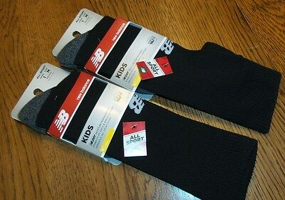 New Balance Youth Black Moisture Management Socks L Kids 3.5-7 Stability Fit
