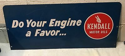 """Vintage KENDALL Motor """"Do Your Engine A Favor"""" Metal Store Advertising Sign"""