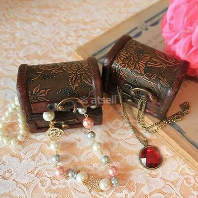 Mini Wooden Jewelry Box Storage vintage small Treasure Chest Wood Crate Case US