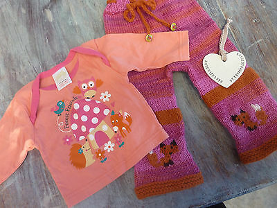 Pink wool longies and t shirt set ,soaker nappy diaper cover .Fox,forest friends