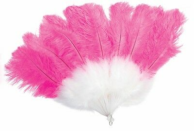Flamingo White Marabou Fan and Pink Ostrich Feathers Women's Costume Accessories