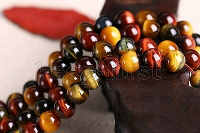 8/10/12MM Natural Mix colour Tiger's Eye Gemstone Round Loose Beads 15'' AAA